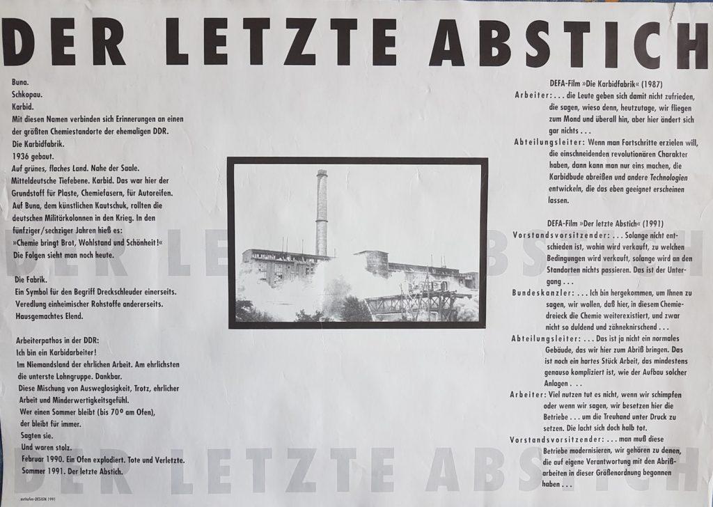 """Filmplakat """"Der letzte Abstich"""" Vorderseite (Design und Satz: Jürgen Hoffmann)"""