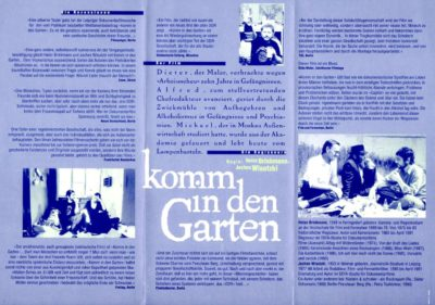 Filmflyer: Komm in den Garten (Rückseite)
