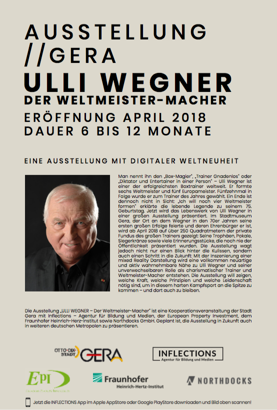 """Foto des Flyers zur Ausstellungseröffnung der Ausstellung """"Ulli Wegner. Der Weltmeistermacher"""" in Gera"""